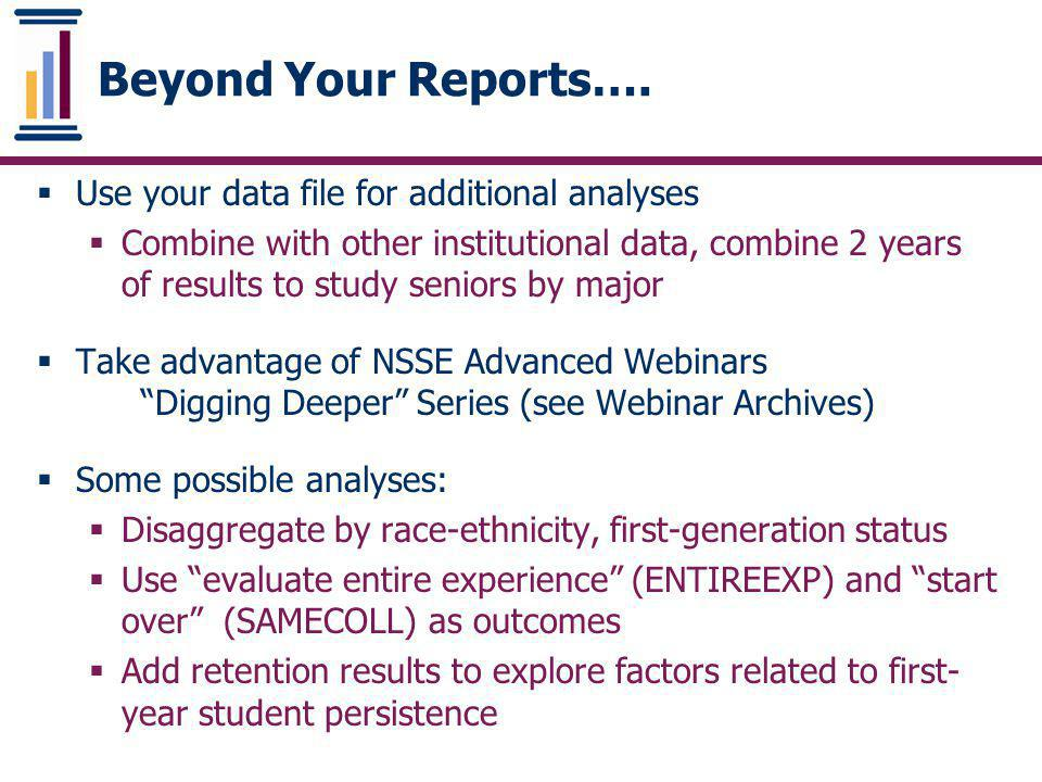 Beyond Your Reports…. Use your data file for additional analyses