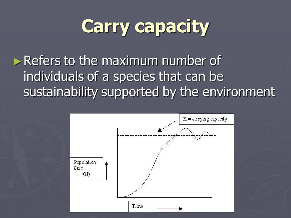 Carry capacity Refers to the maximum number of individuals of a species that can be sustainability supported by the environment.