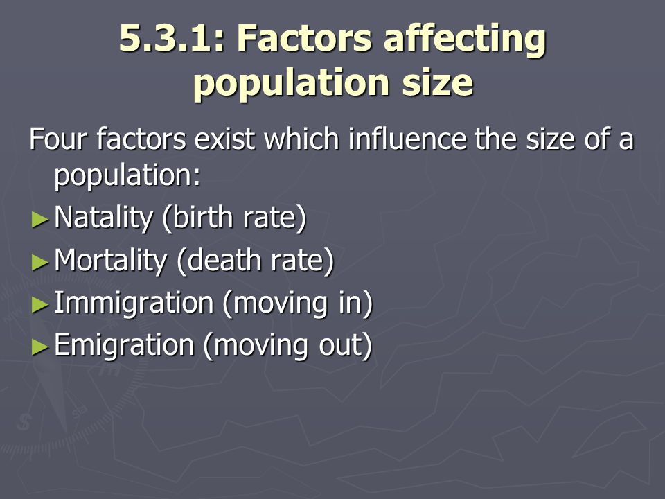 5.3.1: Factors affecting population size