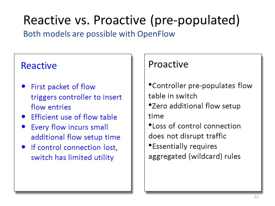 Reactive vs. Proactive (pre-populated) Both models are possible with OpenFlow