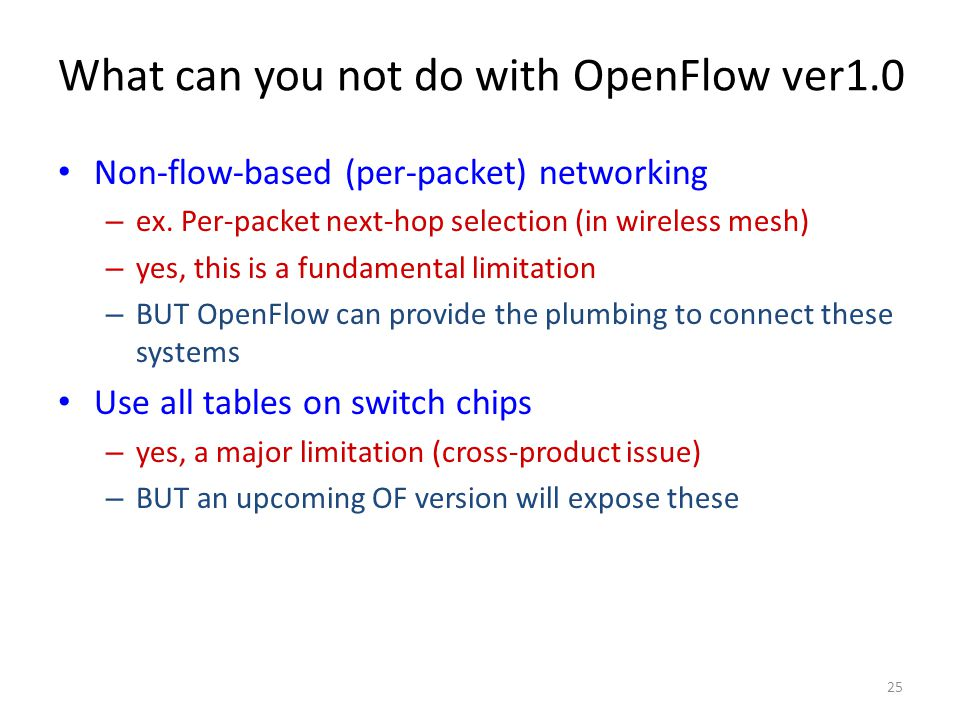 What can you not do with OpenFlow ver1.0