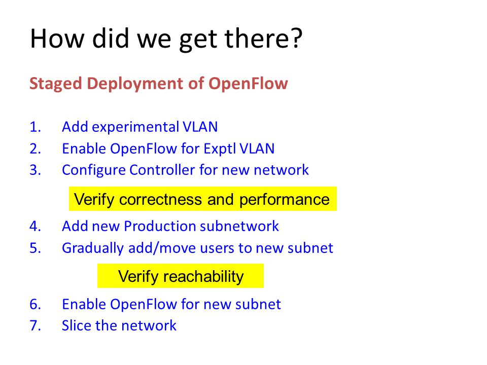 How did we get there Staged Deployment of OpenFlow