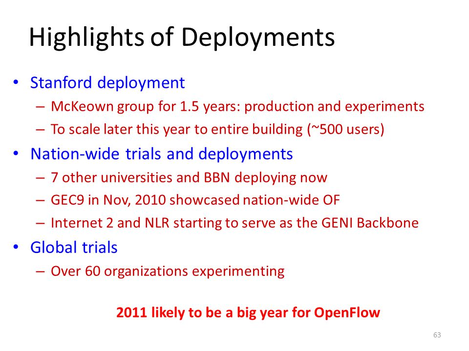 Highlights of Deployments