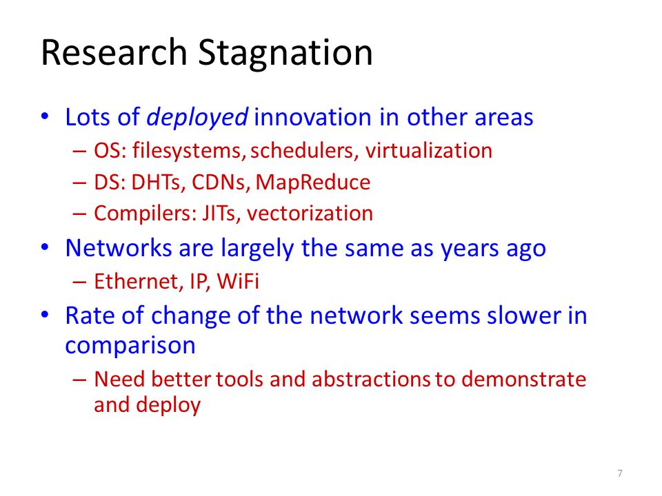 Research Stagnation Lots of deployed innovation in other areas
