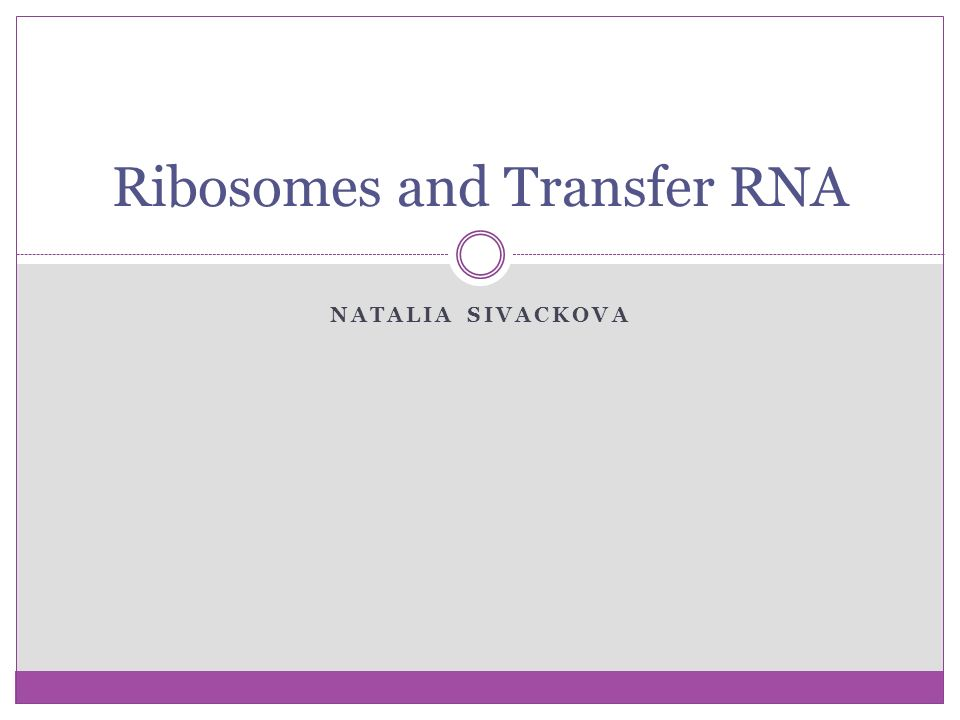 Ribosomes and Transfer RNA