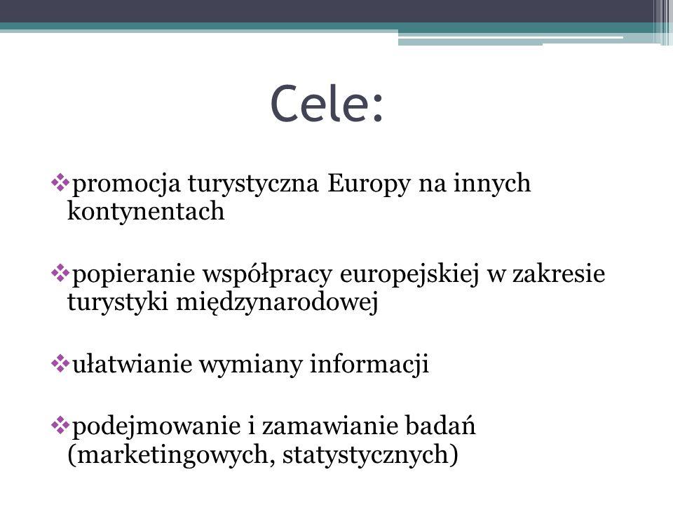Cele: promocja turystyczna Europy na innych kontynentach