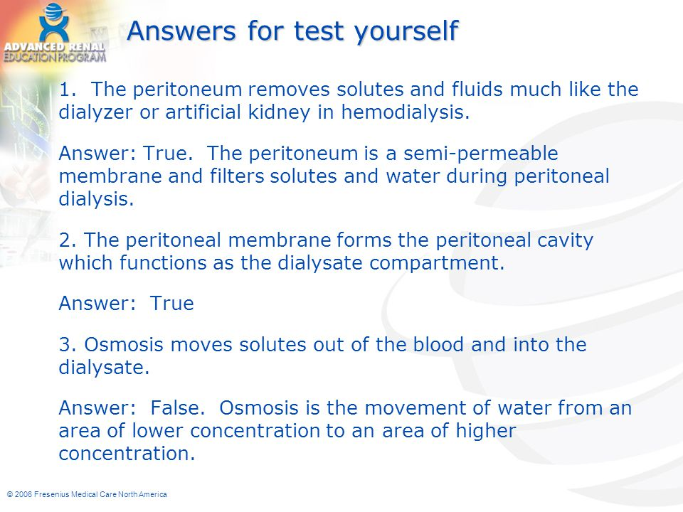 Answers for test yourself