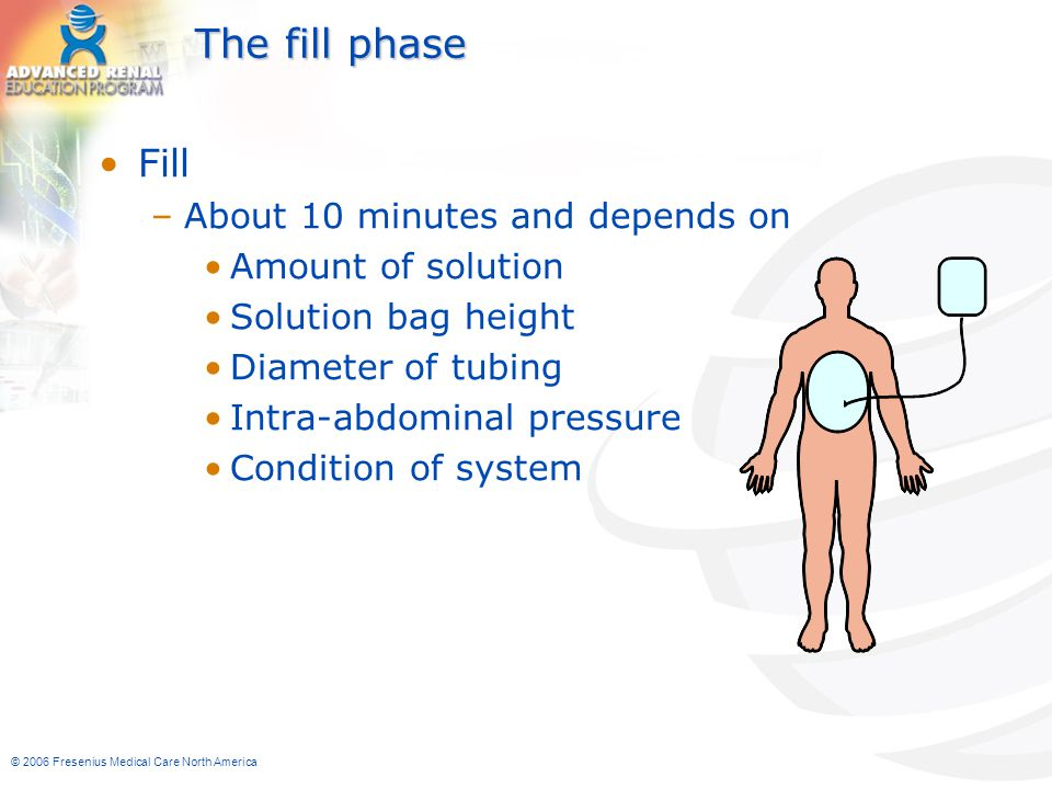 The fill phase Fill About 10 minutes and depends on Amount of solution