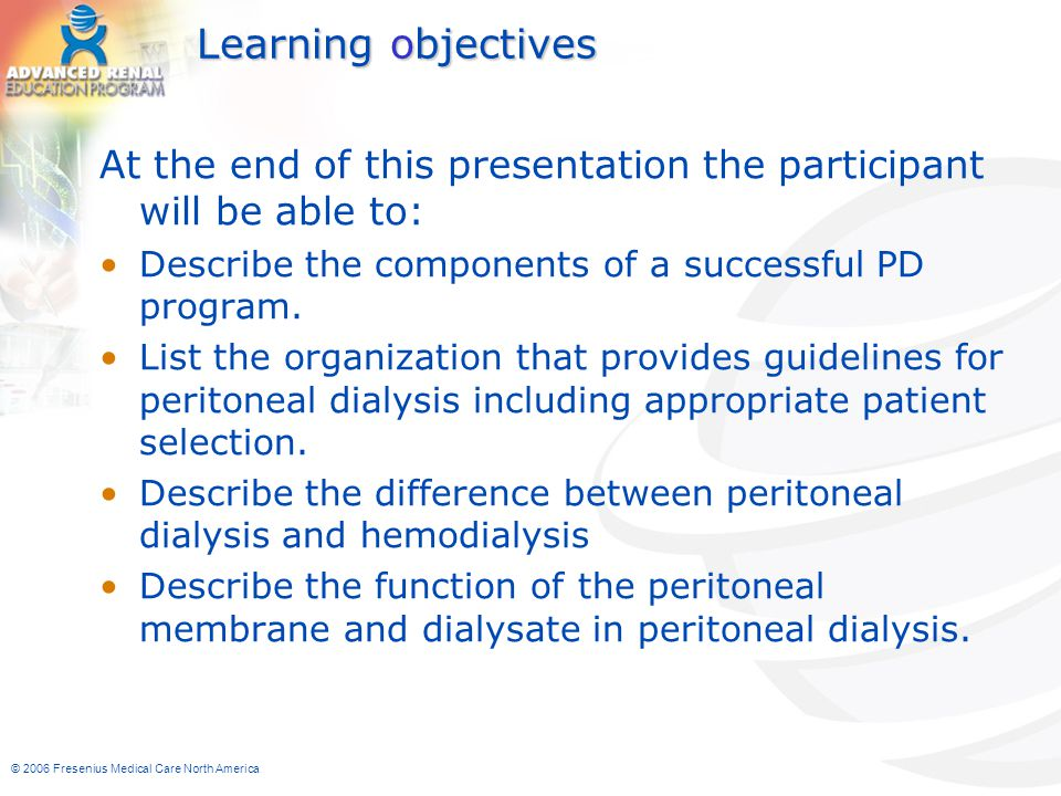 Learning objectives At the end of this presentation the participant will be able to: Describe the components of a successful PD program.