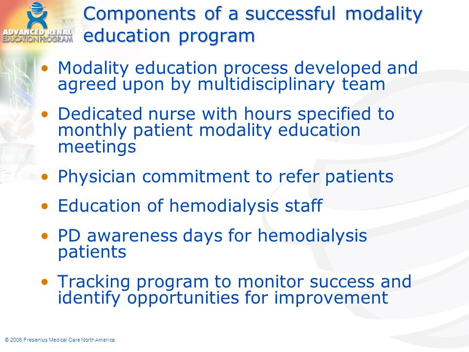 Components of a successful modality education program