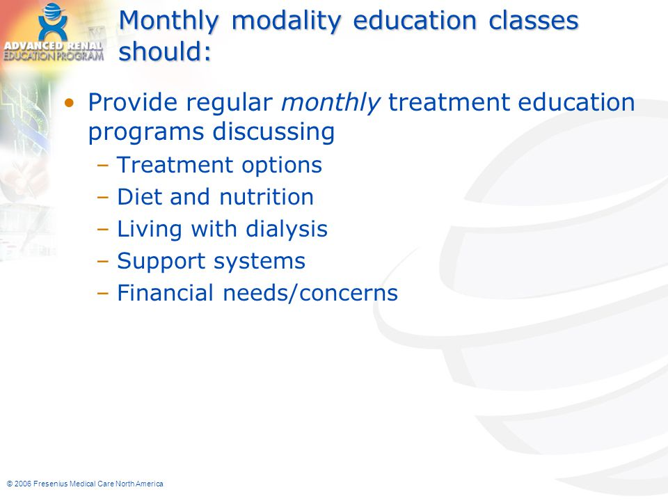 Monthly modality education classes should: