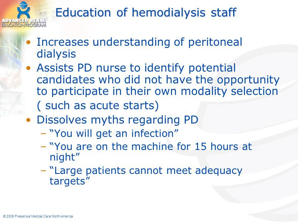 Education of hemodialysis staff