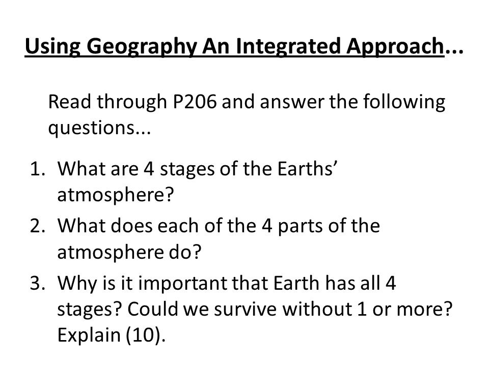 Using Geography An Integrated Approach...