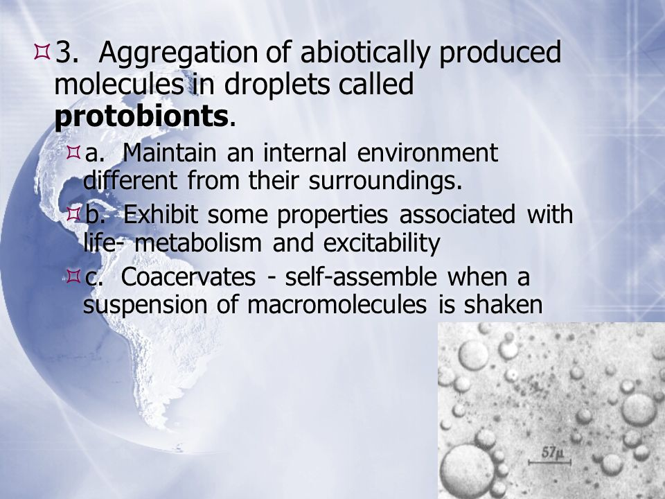 3. Aggregation of abiotically produced molecules in droplets called protobionts.