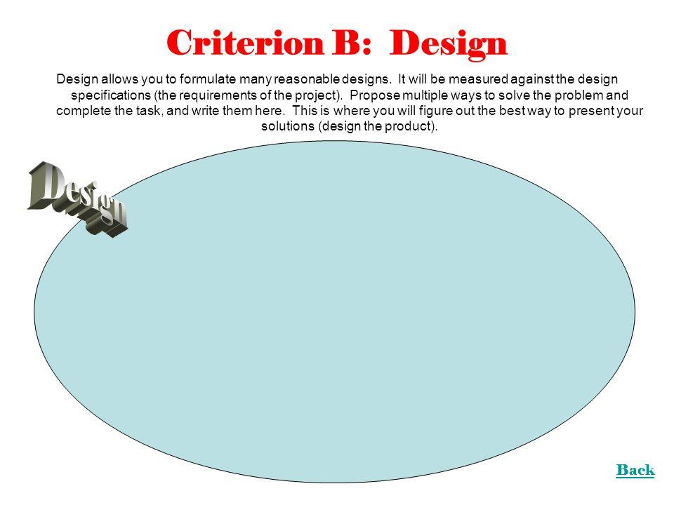 Criterion B: Design Design Back