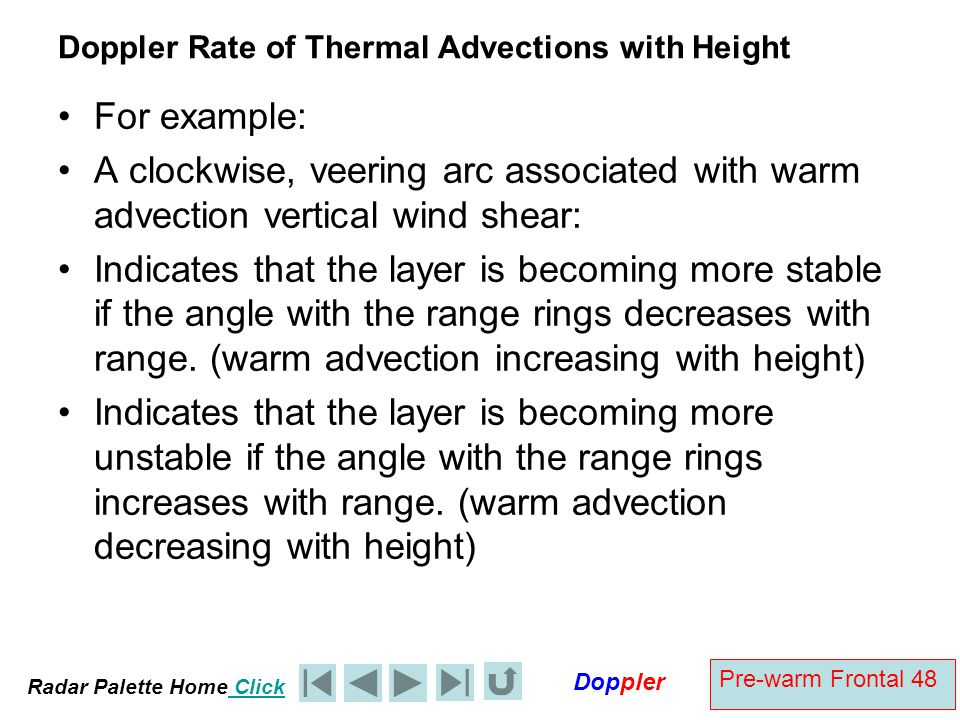Doppler Rate of Thermal Advections with Height
