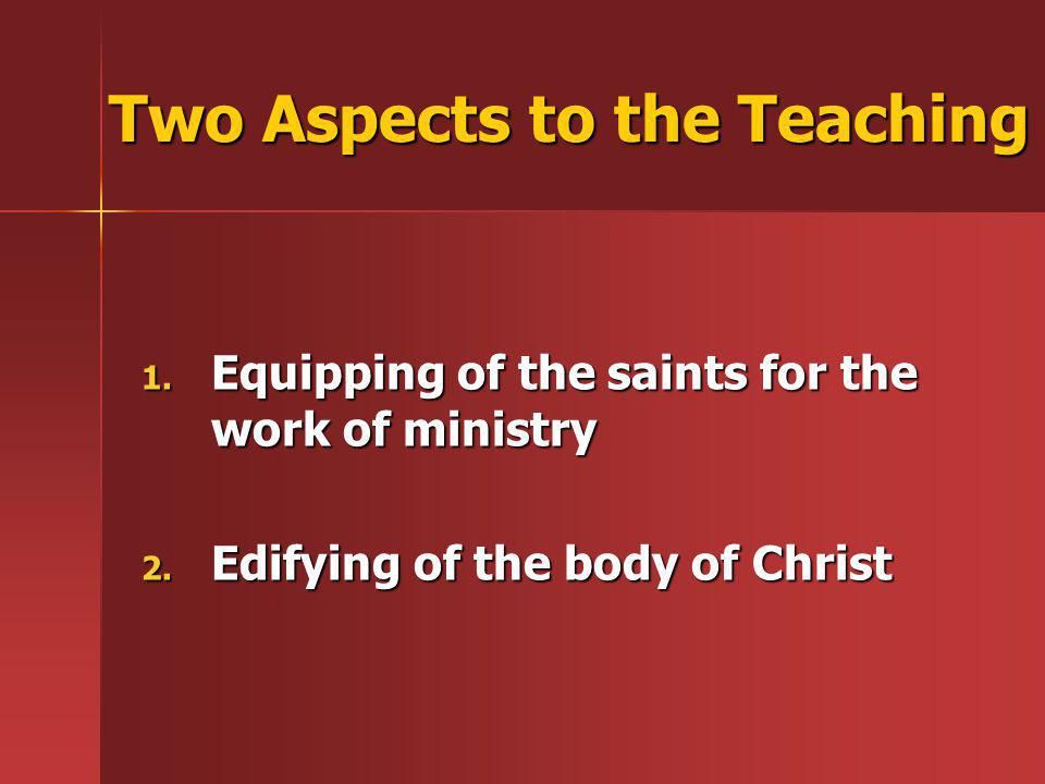 Two Aspects to the Teaching