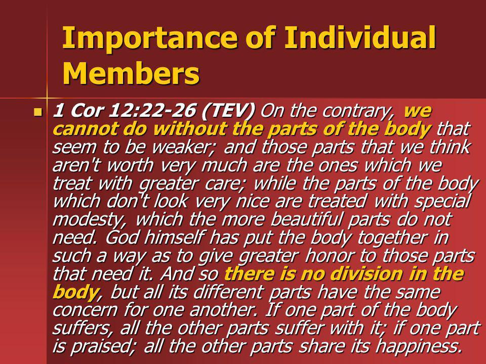 Importance of Individual Members