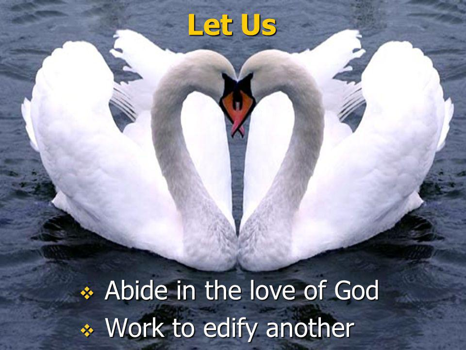 Let Us Abide in the love of God Work to edify another