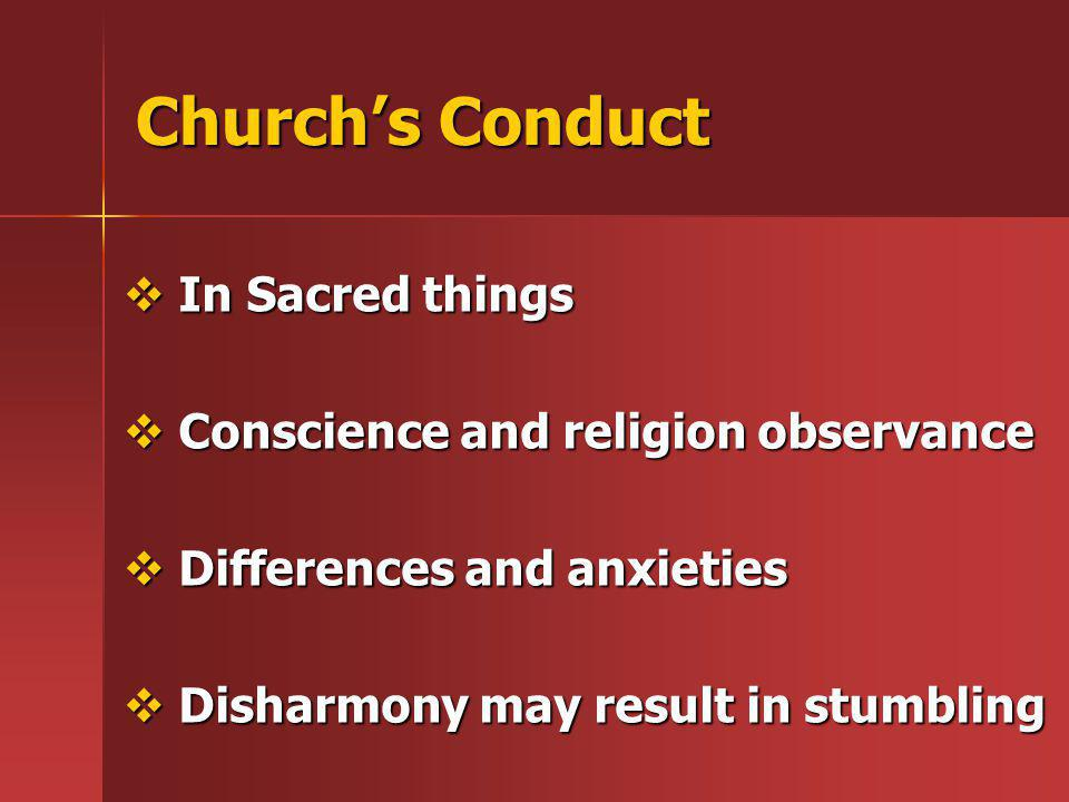 Church's Conduct In Sacred things Conscience and religion observance
