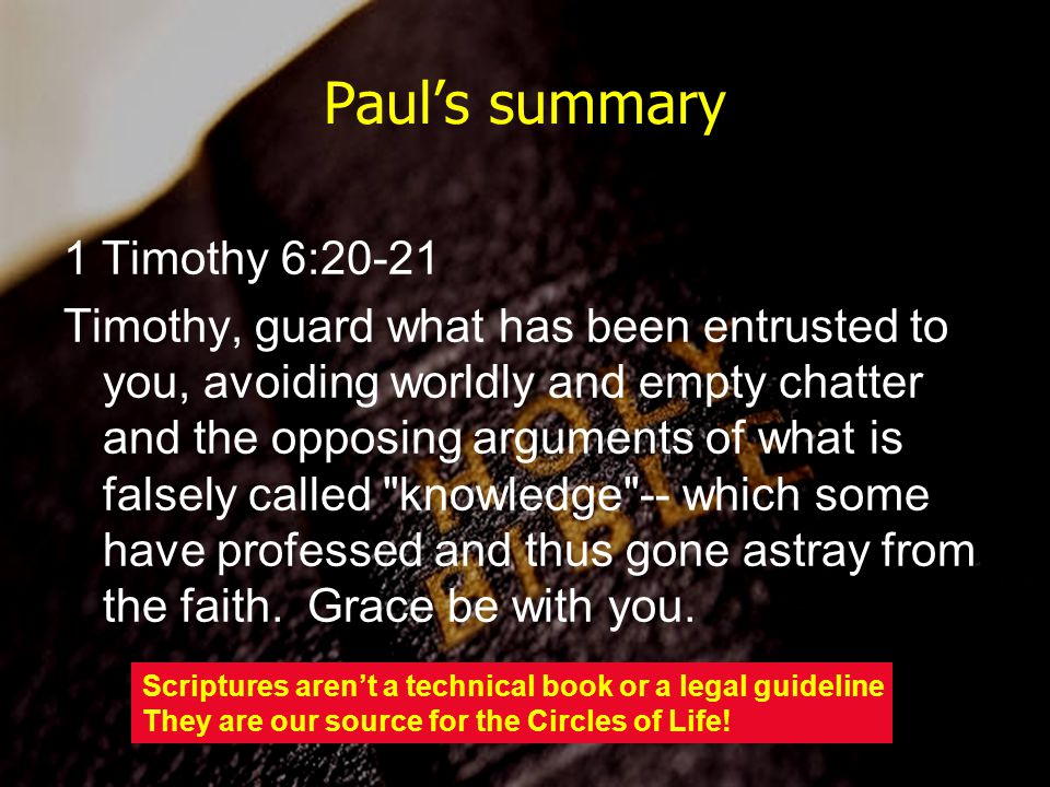 Paul's summary 1 Timothy 6:20-21