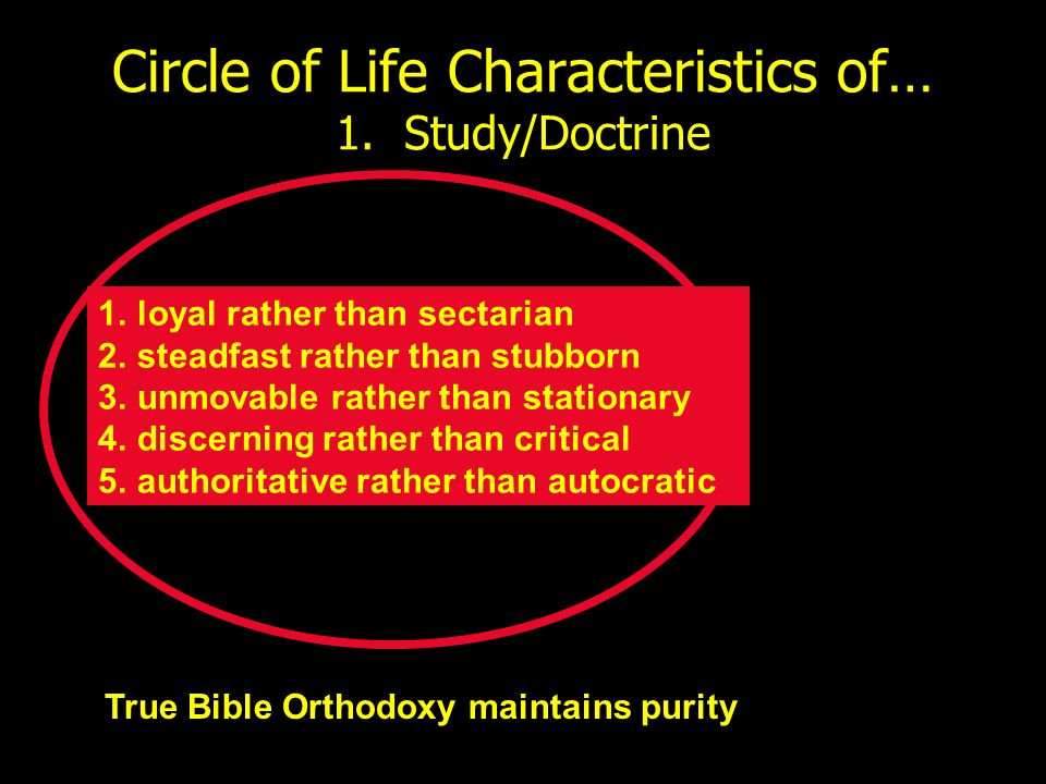 Circle of Life Characteristics of… 1. Study/Doctrine