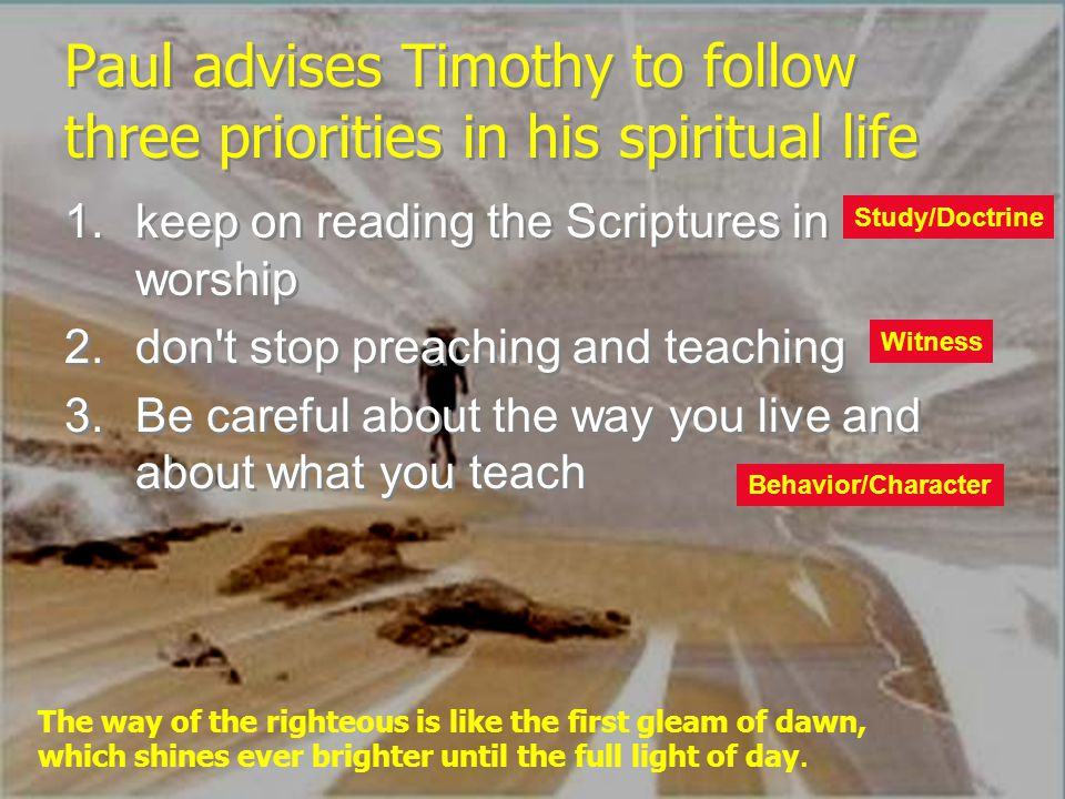 Paul advises Timothy to follow three priorities in his spiritual life