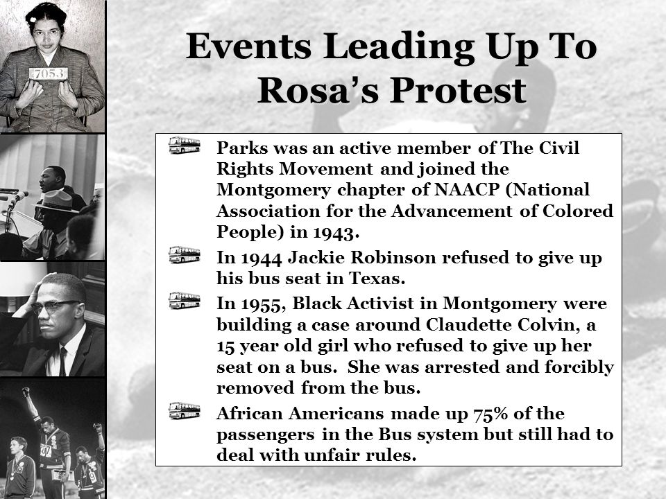 Events Leading Up To Rosa's Protest