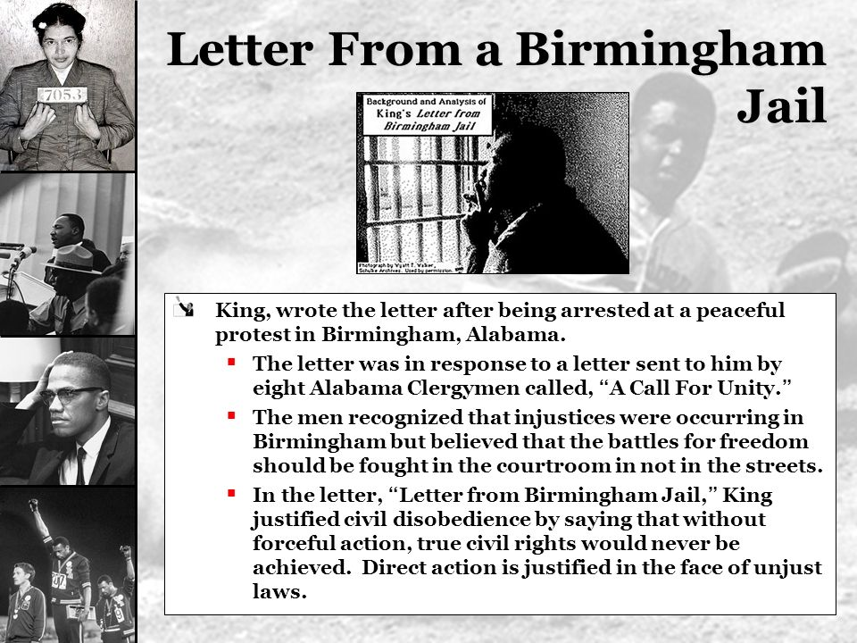 response to letter from a birmingham Isolated in his cell, king began working on a response by this time, king's letter from birmingham jail had begun to appear in publications across the country.