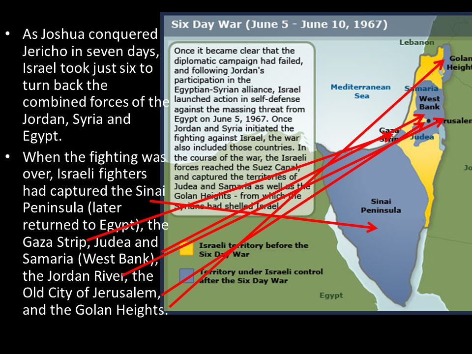 As Joshua conquered Jericho in seven days, Israel took just six to turn back the combined forces of the Jordan, Syria and Egypt.
