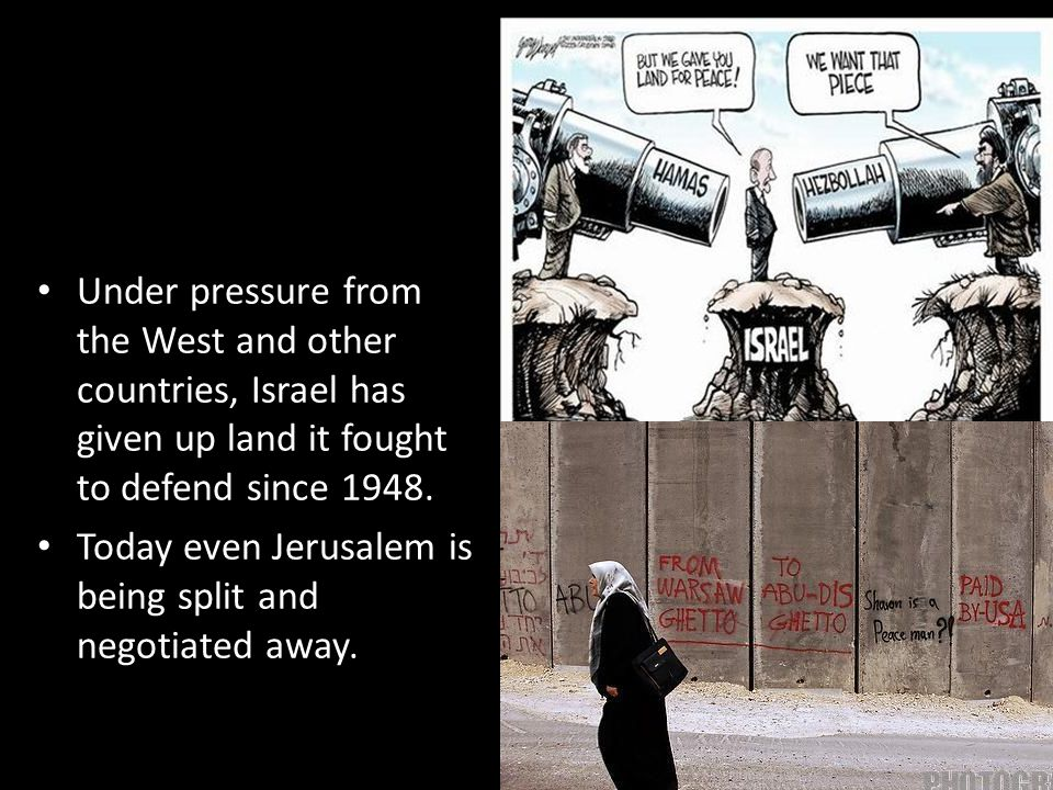 Under pressure from the West and other countries, Israel has given up land it fought to defend since 1948.