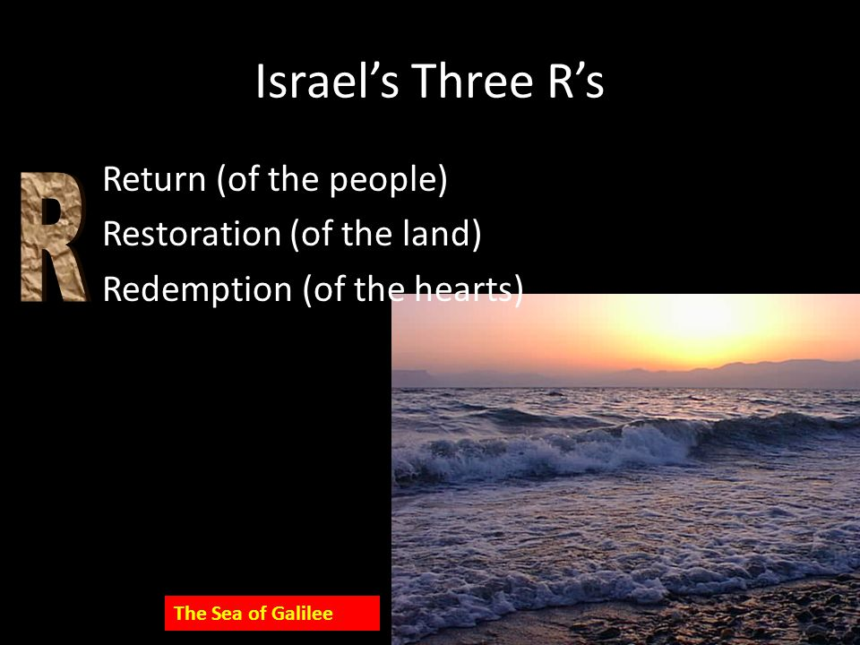 Israel's Three R's R Return (of the people) Restoration (of the land)