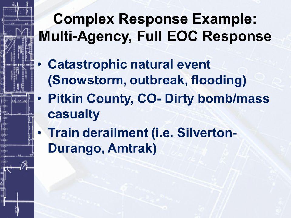 Complex Response Example: Multi-Agency, Full EOC Response