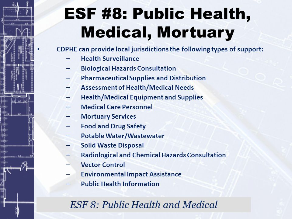 ESF #8: Public Health, Medical, Mortuary