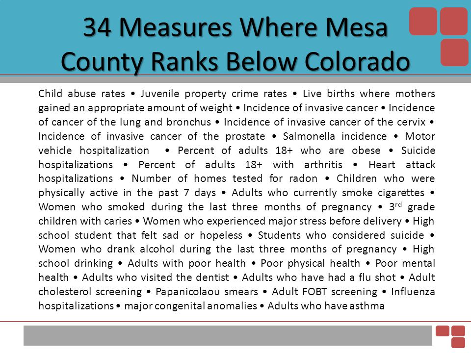 34 Measures Where Mesa County Ranks Below Colorado