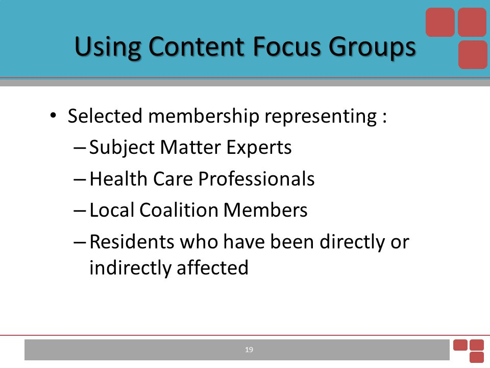 Using Content Focus Groups