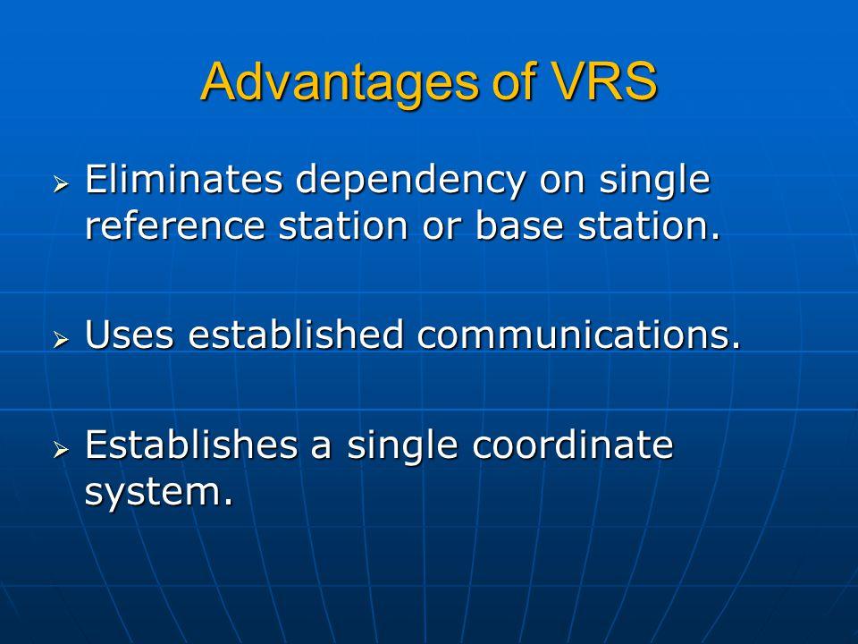 Advantages of VRS Eliminates dependency on single reference station or base station. Uses established communications.