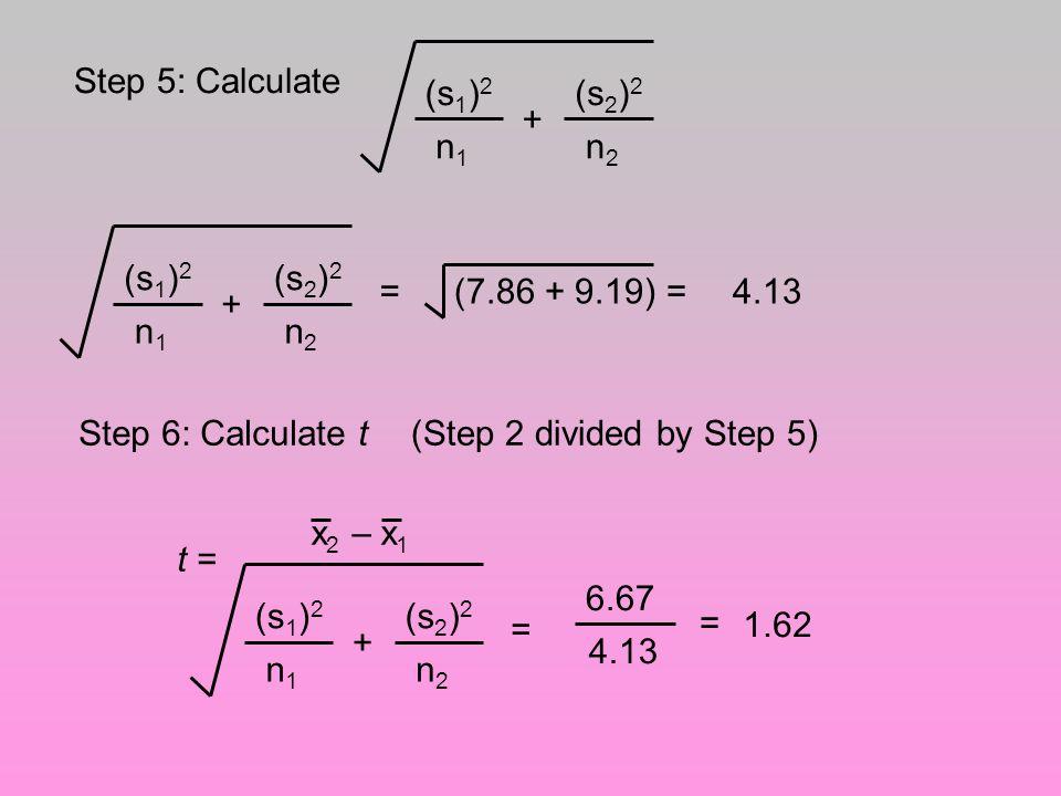 Step 5: Calculate (s1)2. n1. + (s2)2. n2. (s1)2. n1. + (s2)2. n2. = (7.86 + 9.19) = 4.13.