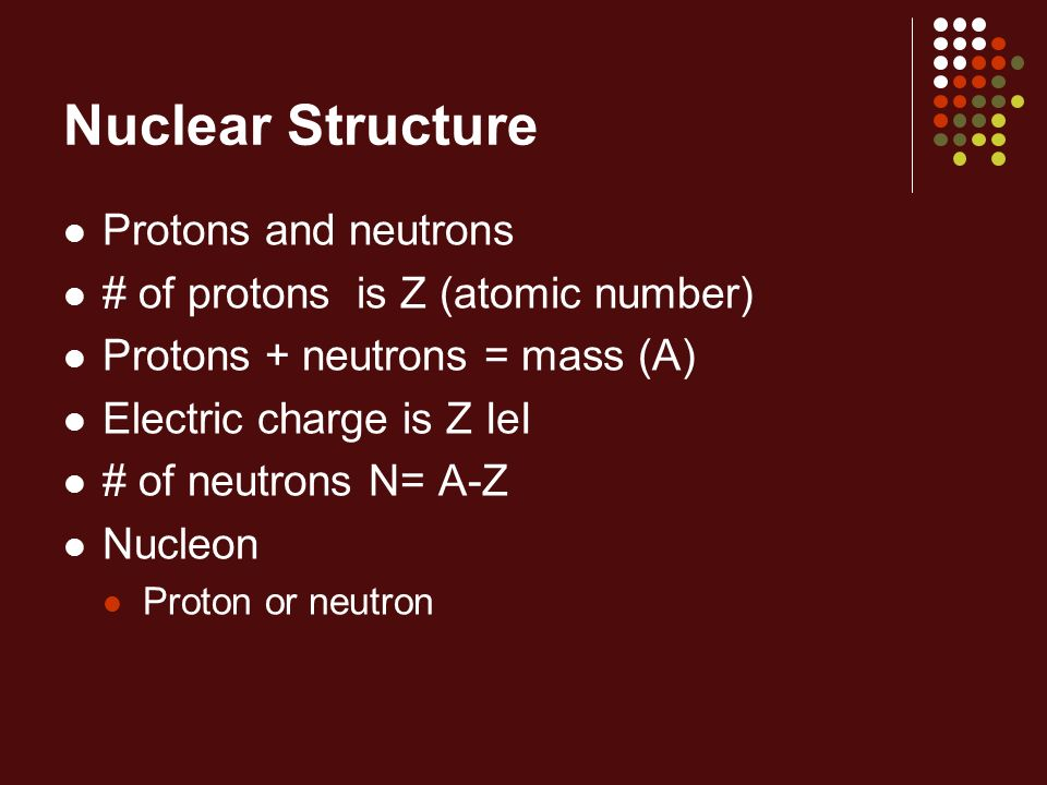Nuclear Structure Protons and neutrons