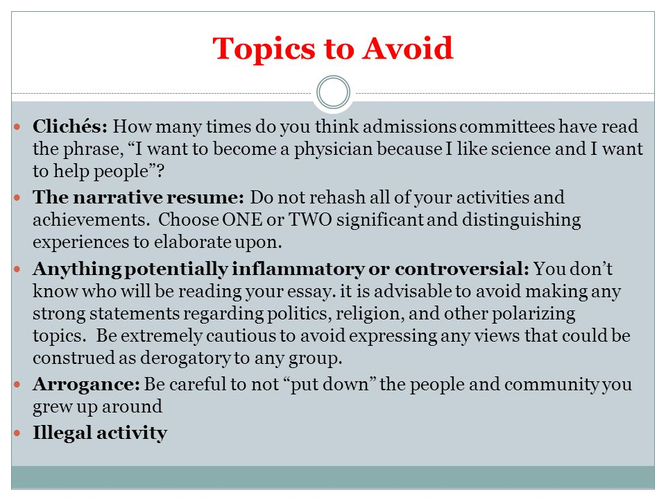 Topics to Avoid