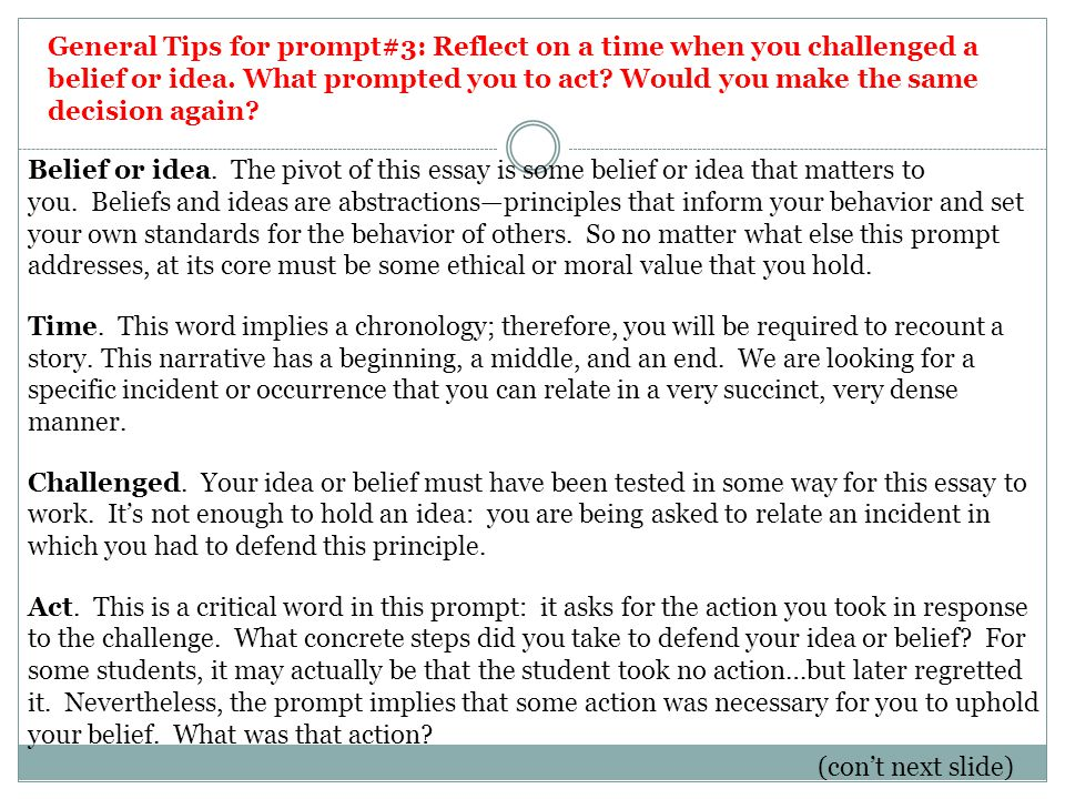 common application essay prompts ppt video online general tips for prompt 3 reflect on a time when you challenged a belief
