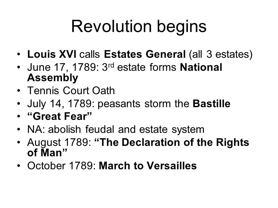Revolution begins Louis XVI calls Estates General (all 3 estates)