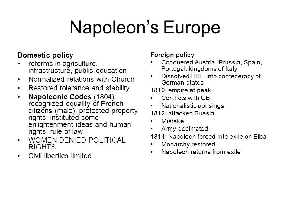 Napoleon's Europe Domestic policy