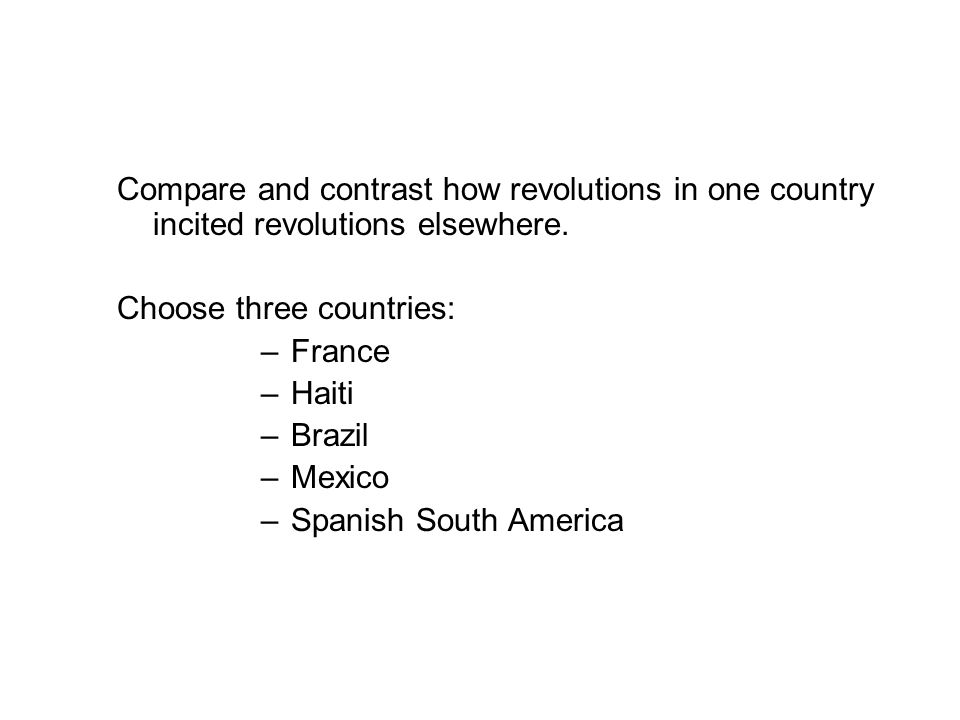 Compare and contrast how revolutions in one country incited revolutions elsewhere.