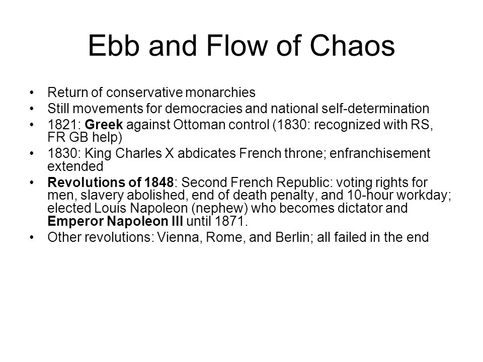 Ebb and Flow of Chaos Return of conservative monarchies