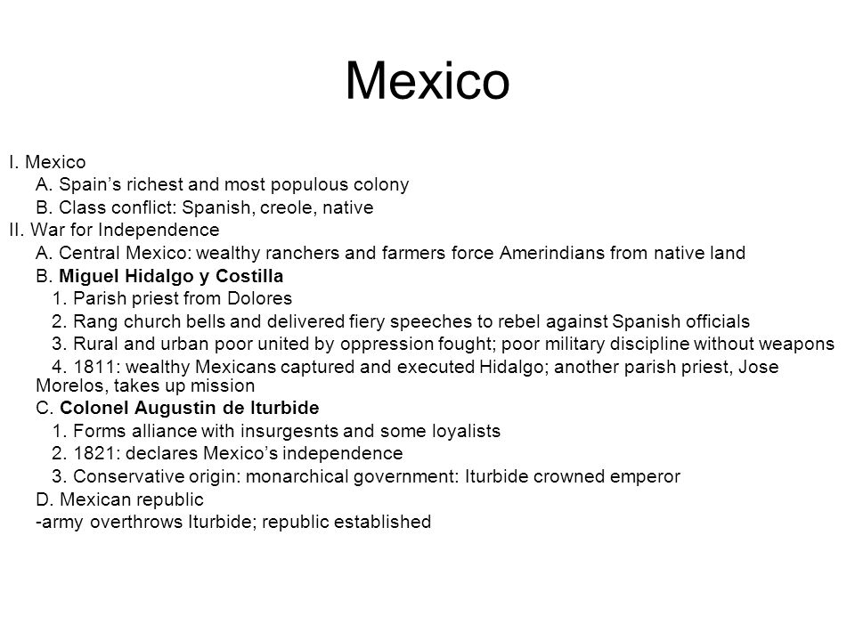 Mexico I. Mexico A. Spain's richest and most populous colony