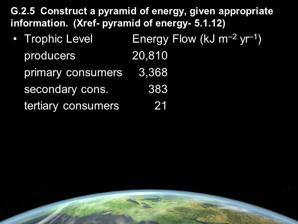 Trophic Level Energy Flow (kJ m–2 yr–1) producers 20,810