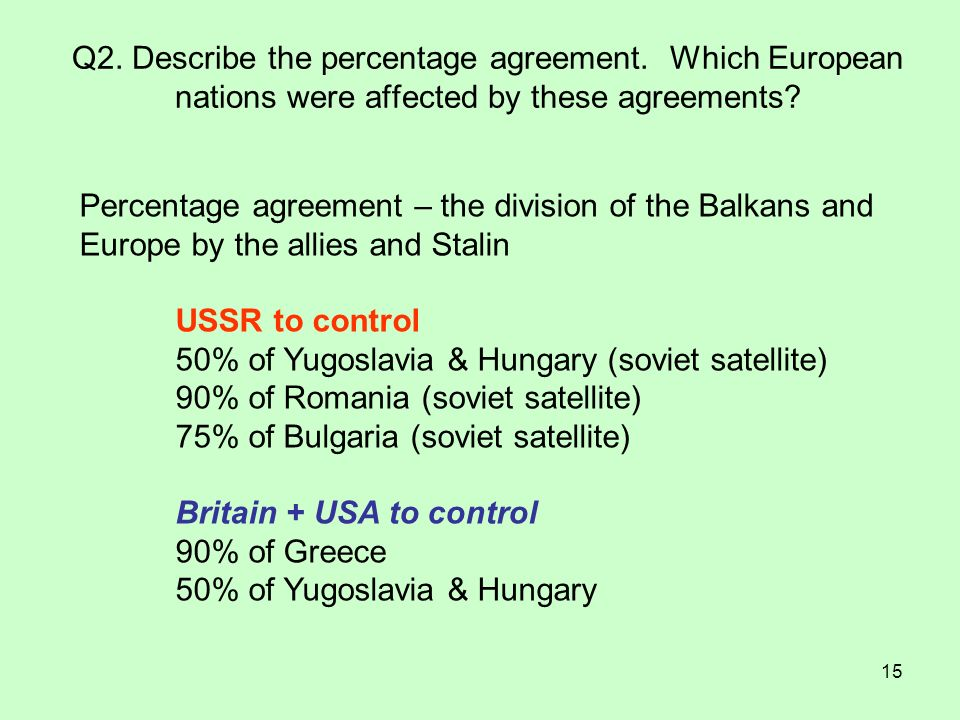 Q2. Describe the percentage agreement