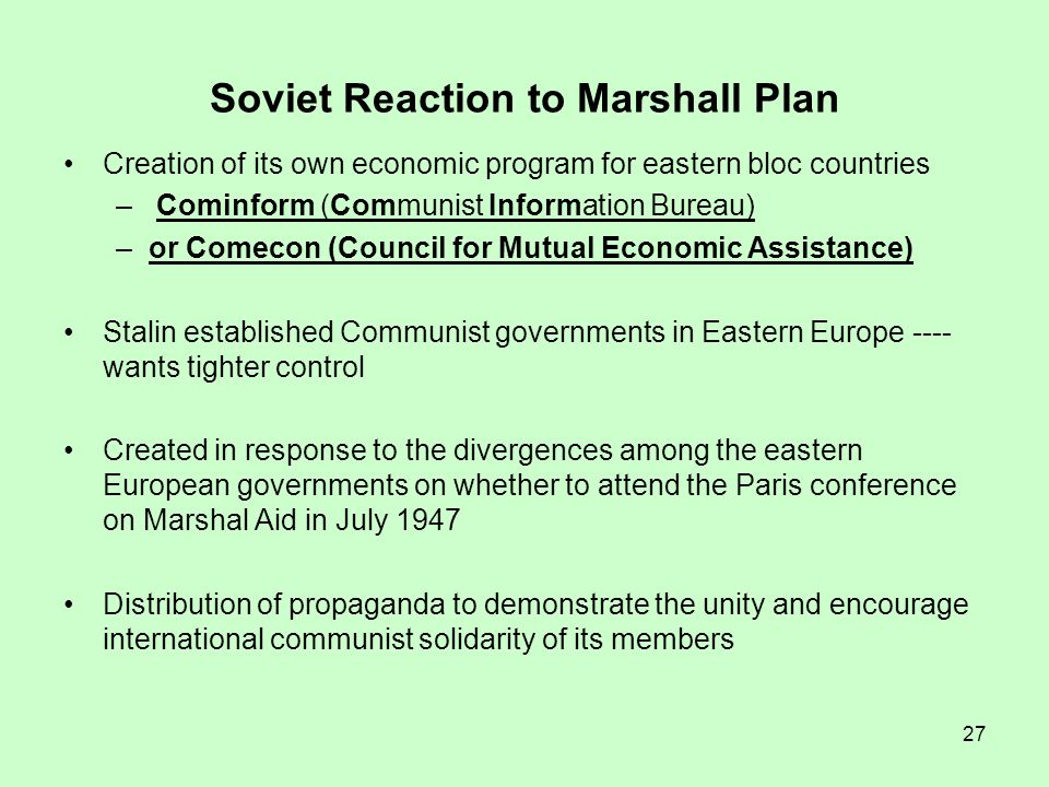 Soviet Reaction to Marshall Plan