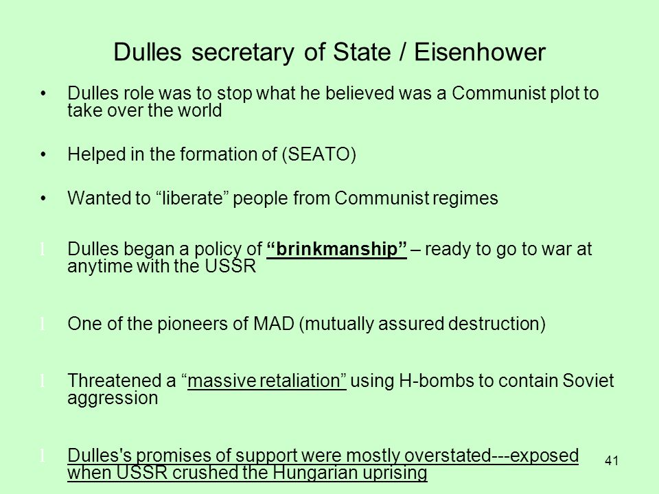 Dulles secretary of State / Eisenhower